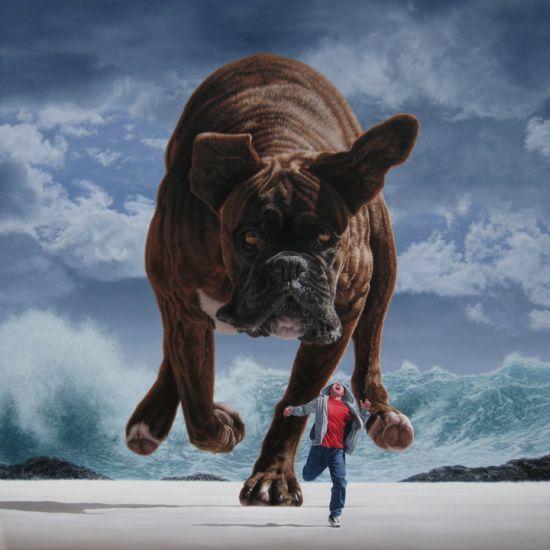 Joel Rea pintura hiper-realista surreal cães gigantes caindo céu Perseguição sob céu prateado