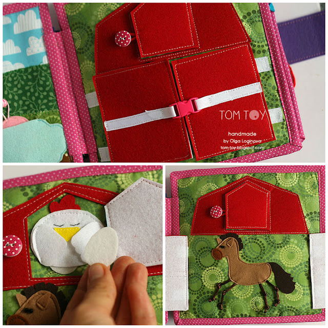 Quiet book for Olivia. Handmade busy cloth book for a girl, barn, farm quiet book page