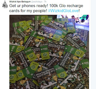 Wizkid Shares 100k Worth Of Recharge Cards On Twitter (Screenshots)