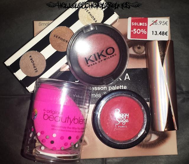 Présentation des produits présentés dans l'article fard à paupière, palette, rouges à lèvre et beauty blender Hellolescheveuxrouges