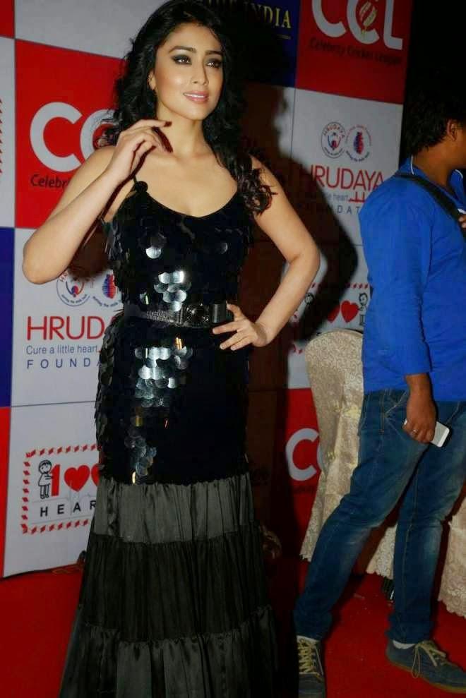 Shriya Saran Sleeveless Black Evening Gown Photos