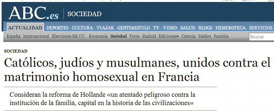 Católicos, judíos y musulmanes, unidos contra el matrimonio homosexual en Francia