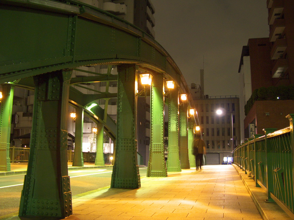 Crossing Yanagibashi Bridge at night, Taito ward, Tokyo.