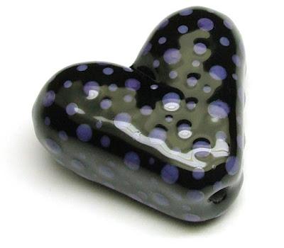 Lampwork Glass Heart Bead