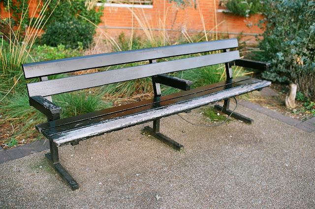 London bench Bernie Spain Gardens Southbank