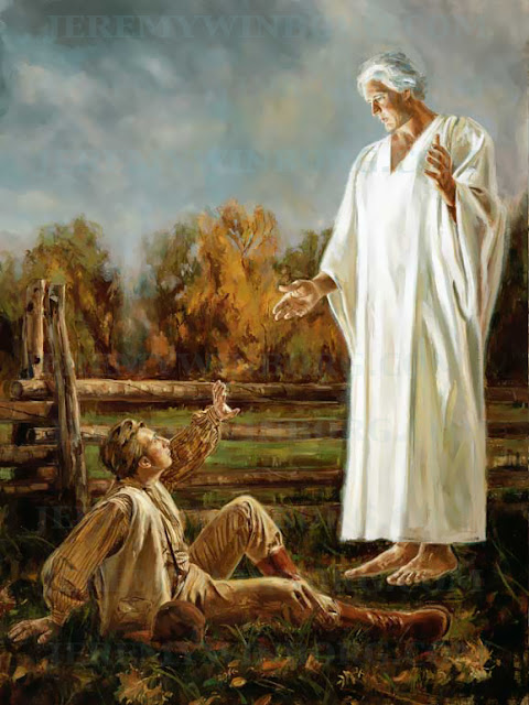 joseph smith is visited by the angel moroni lds art