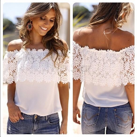camiseta blanca sin hombros