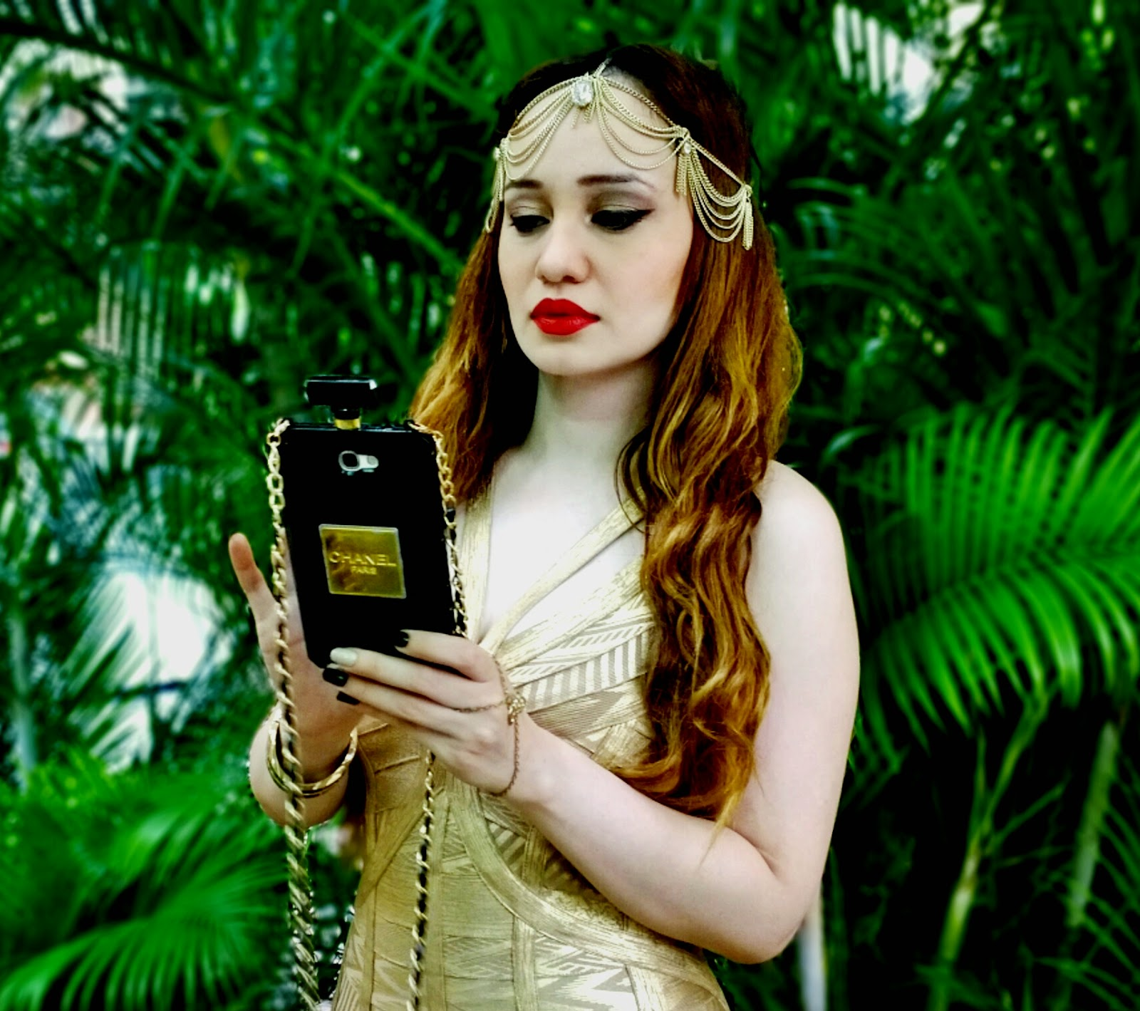 Gold Head-Chain, Chanel Perfume Bottle Phone Cover