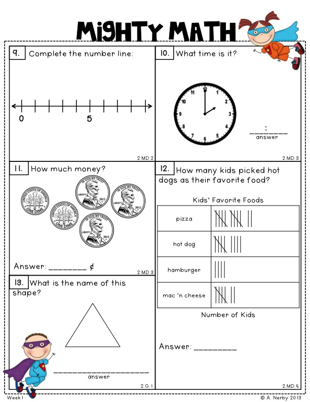 Quarter worksheets for second grade
