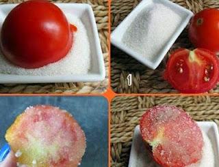 تقشير البشرة بالطماطم والسكر