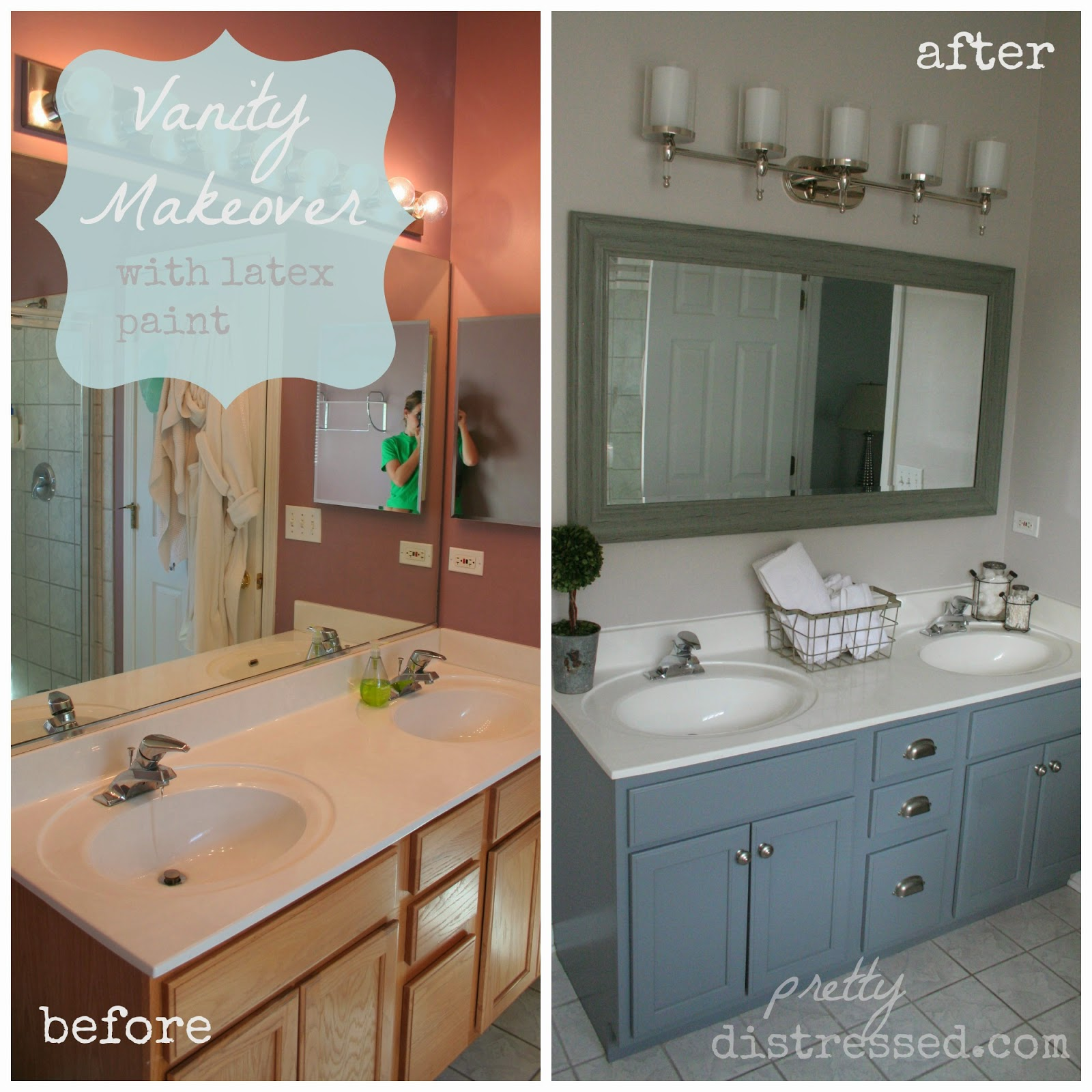 Pretty distressed bathroom vanity makeover with latex paint for Bathroom cabinet makeover ideas