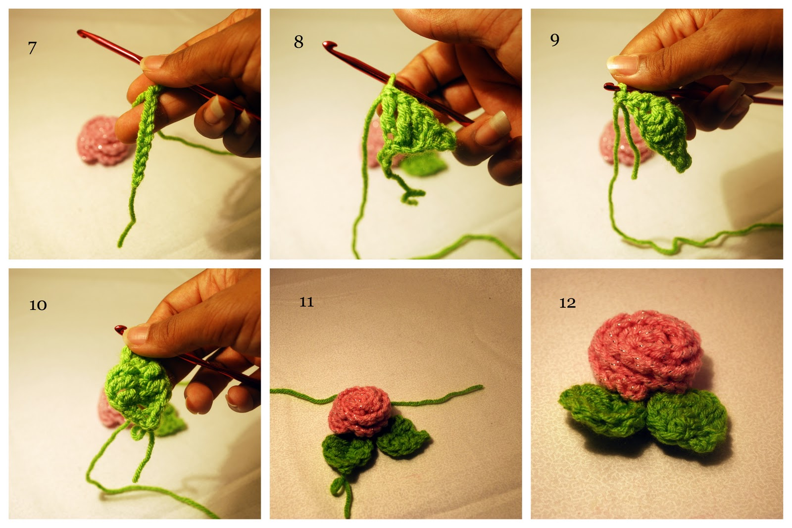 Logical Ramblings by AyanaRED: Crochet Rose with Leaves ...