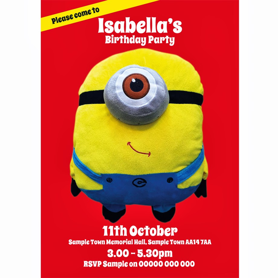 Despicable me Minions Dave personalised Birthday Invitations