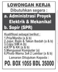 LOKER Admin dan Sopir Lampung
