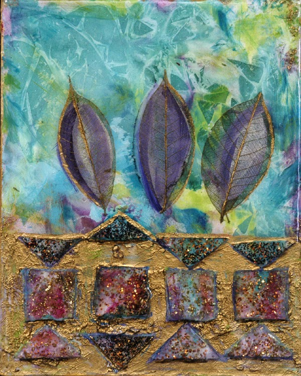 mixed media painting with gold leaf
