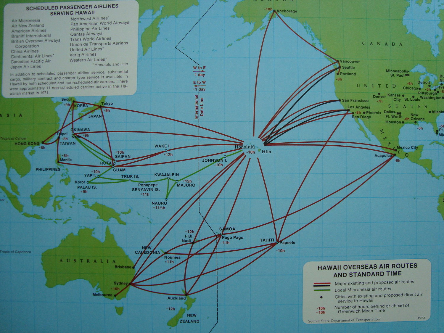 the timetablist: scheduled passenger routes from hawaii, 1971: east