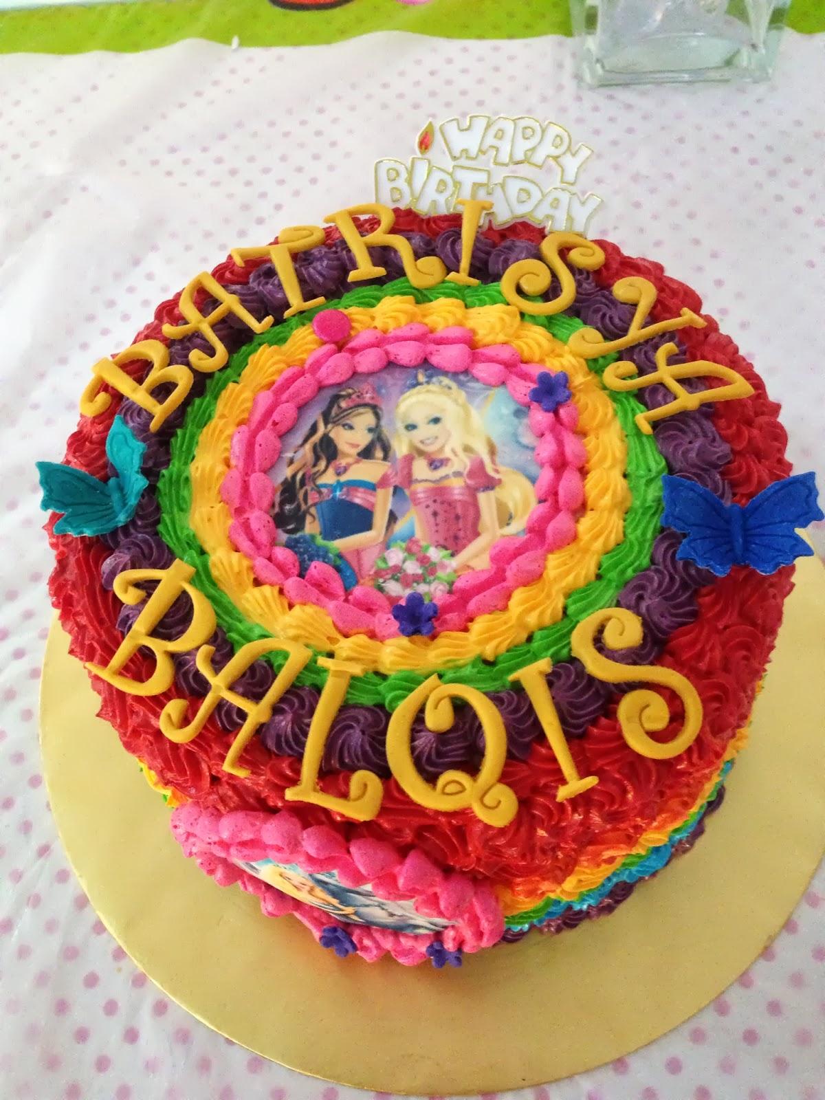 Vintage Rainbow Cake Decoration Edible : ninie cakes house: Rainbow cake with edible barbie