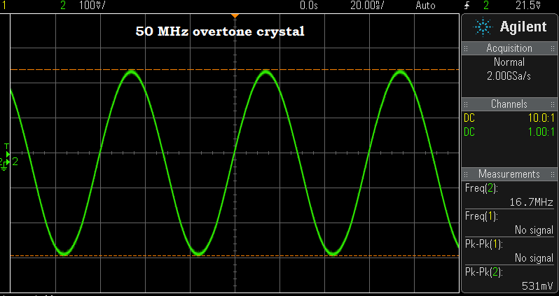 "1 of the many 50 MHz ""fundamental"" crystals that turned out to be an overtone job."