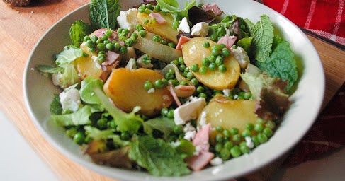 This ain't your mama's dinner!: Potato, pea and mint salad with feta