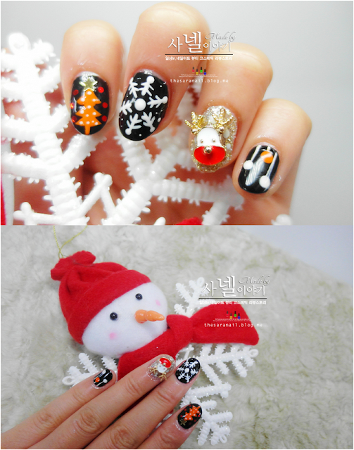 Easy drawing with nail brush! EASY Christmas nail art, Snow/snowman/tress nail art