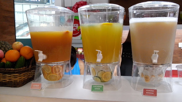 The very refreshing Detox Infused Water in L-R: Citrus, Cucumber Lemon and Almond Banana