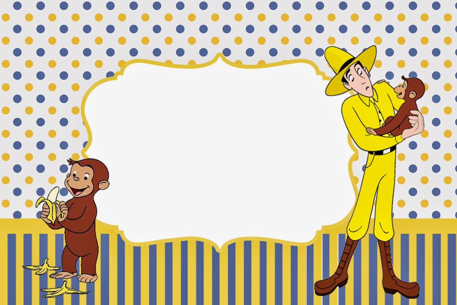 Curious George Printable Invitations as adorable invitation template
