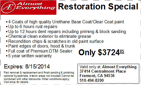 Coupon Almost Everything Restoration Special July 2014