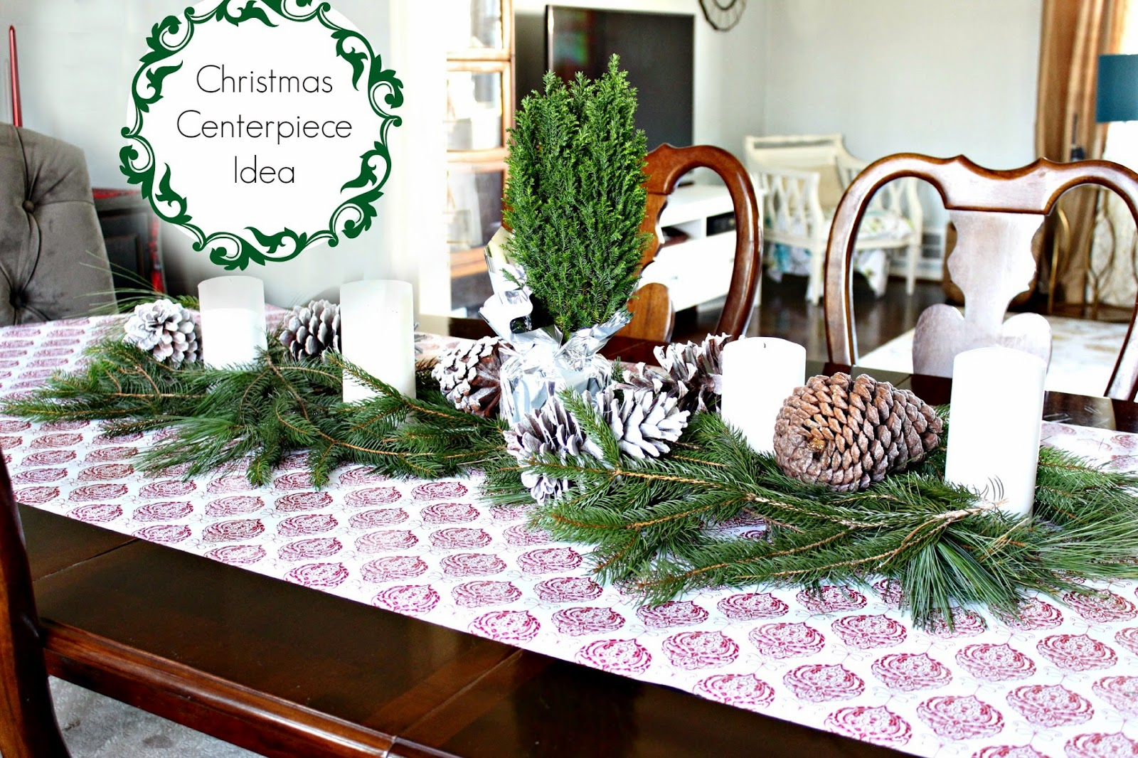 holiday decorating tablescape centerpiece