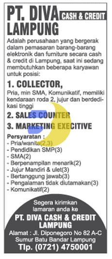 Lowongan Kerja PT. DIVA Lampung Terbaru 2015