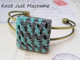 Micromacrame knotting in micro bead cord set in bangle bezel