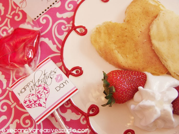 valentines pancakes, happy valentines day, valentines day breakfast idea