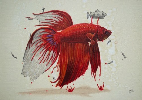 06-Betta-Fish-Ricardo-Solis-Animal-Paintings-and-their-Back-Story-www-designstack-co