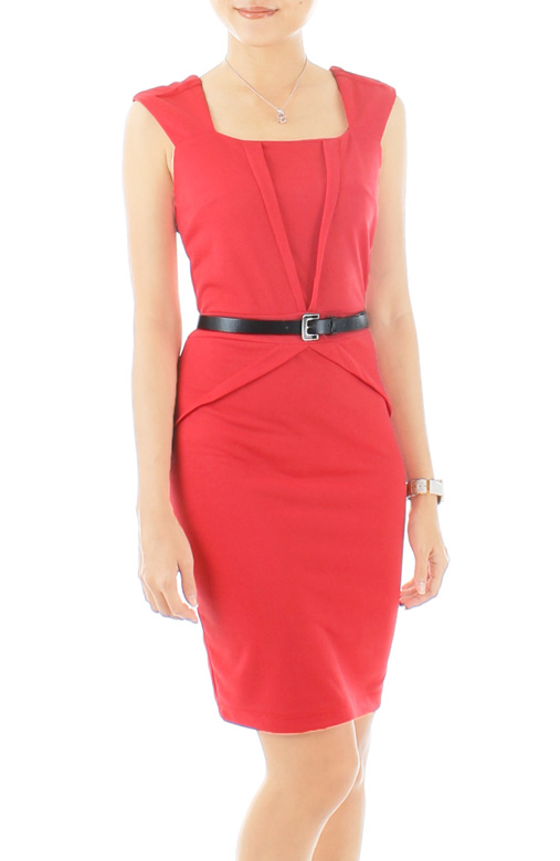Sleek Chic Pencil Dress - Hot Pink