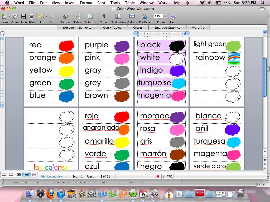Adventures in kindergarten august 2012 for Colors in spanish