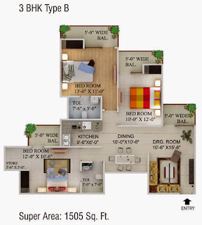 Cape Town :: Floor Plans,3 BHK Type B Super Area - 1505 Sq Ft