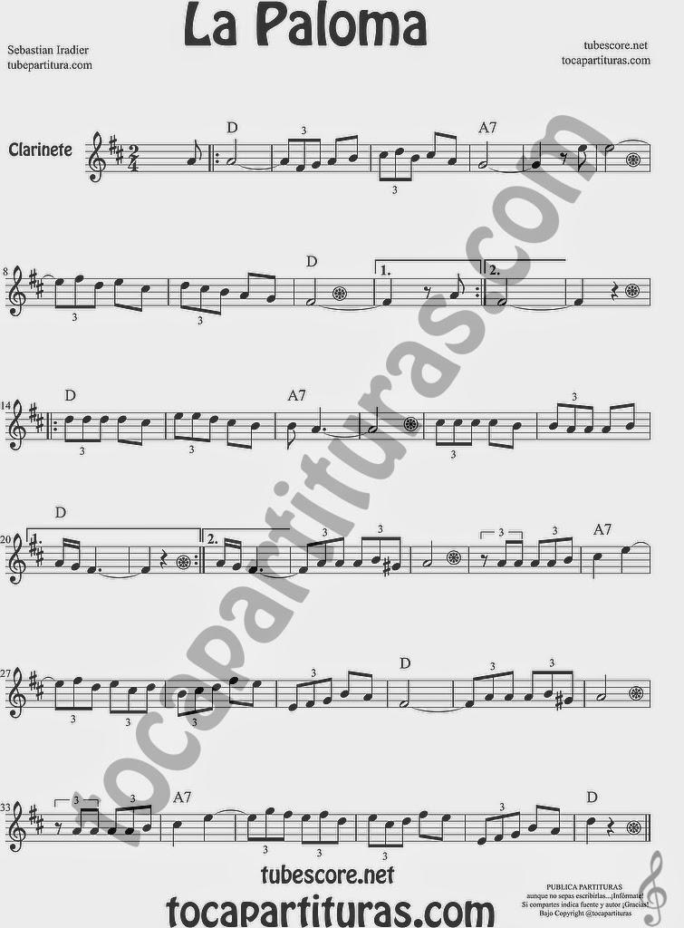 La Paloma Partitura de Clarinete Sheet Music for Clarinet Music Score