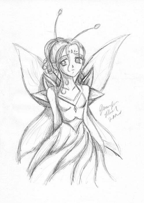 Easy Pencil Drawings Of Anime Fairies Sketch Coloring Page