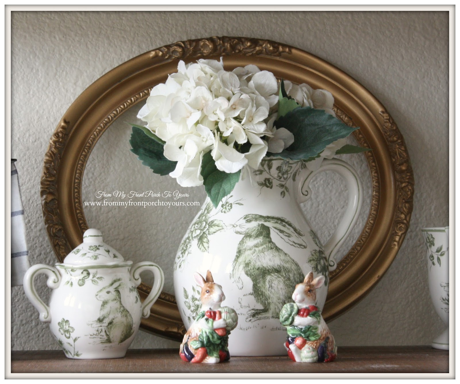 French Farmhouse Spring-Green Transferware- Breakfast Nook- From My Front Porch To Yours