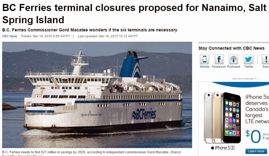 BC Ferries Closure propose for Nanaimo