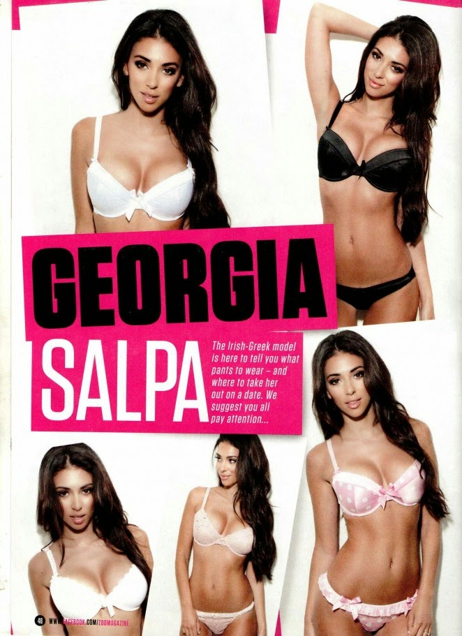Georgia Salpa wears skimpy lingerie for Zoo magazine's November 2014 edition