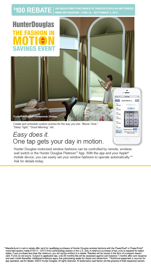 Hunter Douglas   The Fashion In Motion Savings Event! Now At Jonathons!  Posted 13th June 2013 By Jonathons Coastal Living