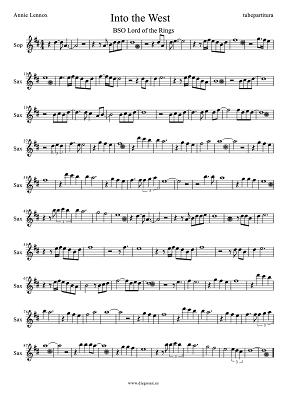 Tubepartitura Partitura de Into the West de Annie Lennox para Saxofón Soprano Banda Sonora de El Señor de los Anillos El Retorno del Rey