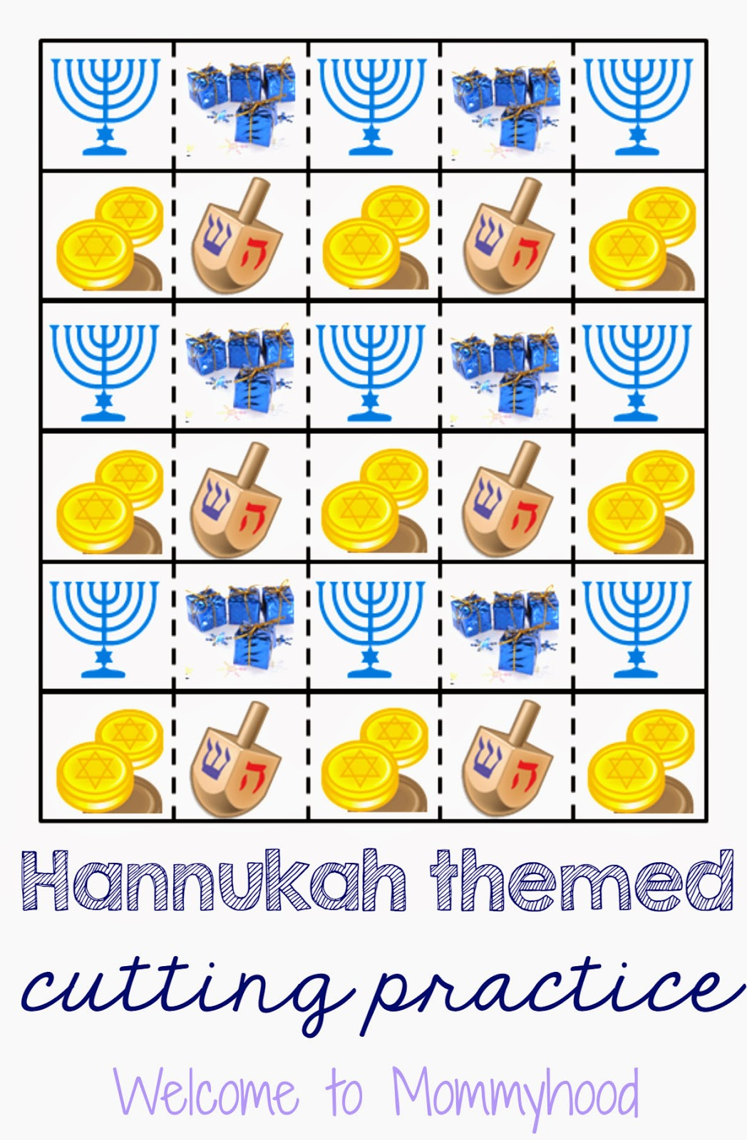 Montessori inspired Hanukkah Cutting Practice Printable {Welcome to Mommyhood} #hanukkah, #montessori, #freeprintables