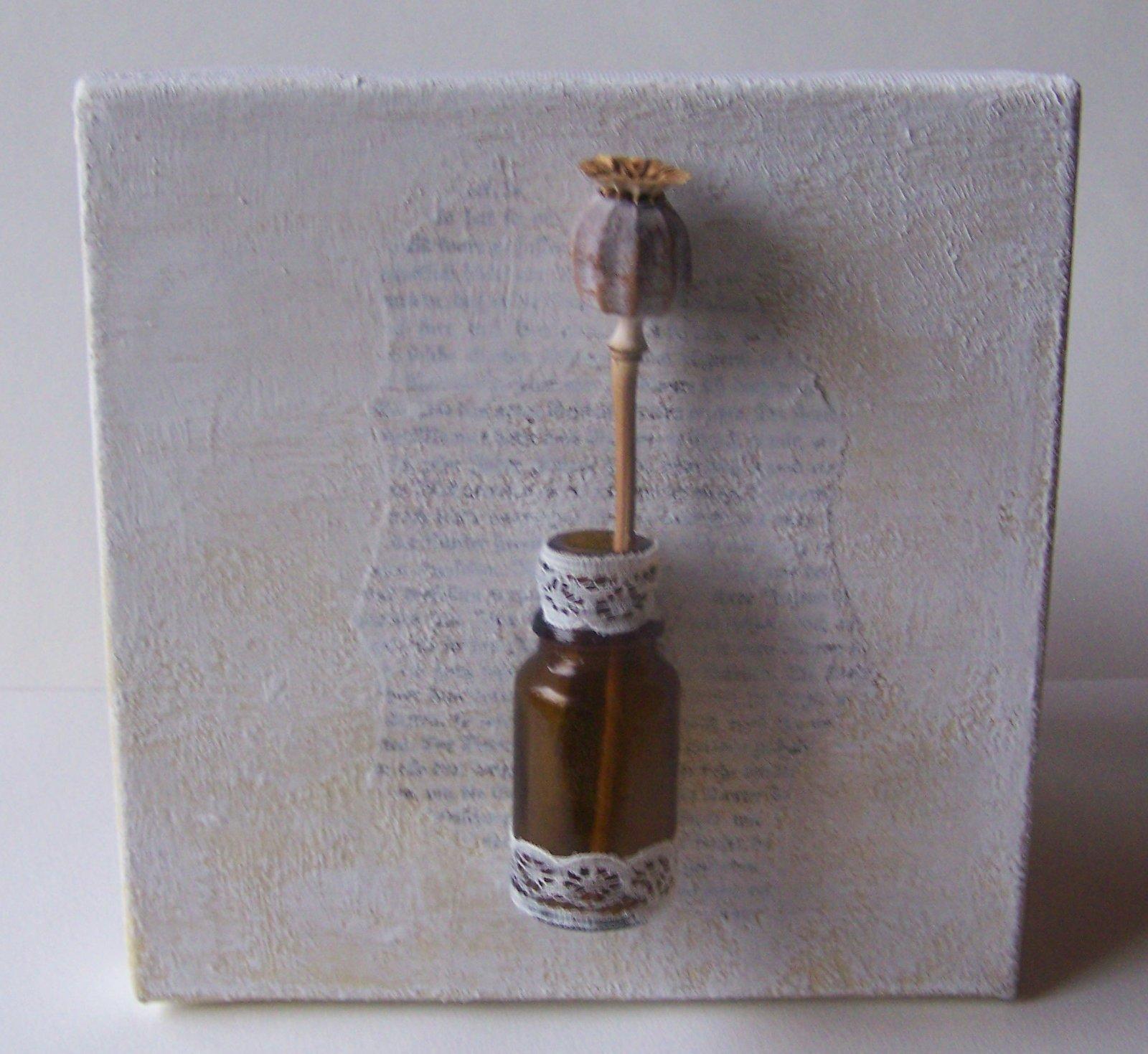 Acryl Keilrahmen Mit Vase Und Mohnkapsel