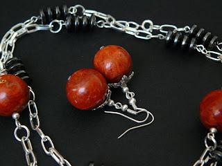 biżuteria z półfabrykatów - koral z hematytem (komplet)