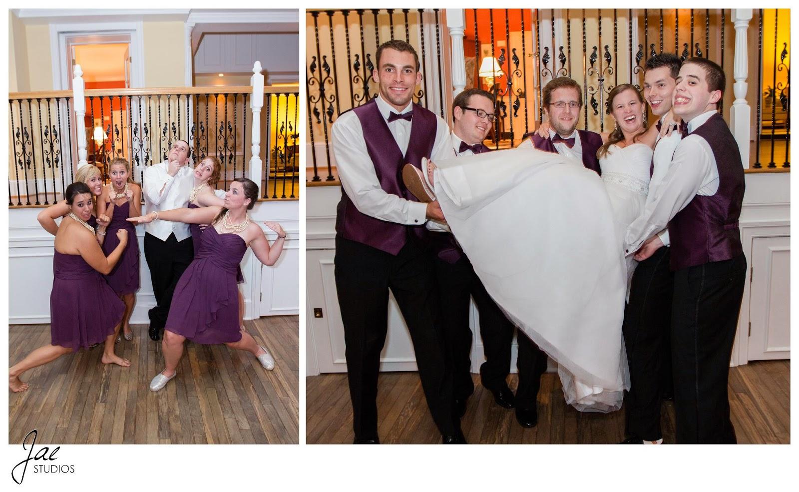 Jonathan and Julie, Bird cage, West Manor Estate, Wedding, Lynchburg, Virginia, Jae Studios, purple, bridesmaids, dresses, wedding dress, groomsmen, holding, groom, posing, funny