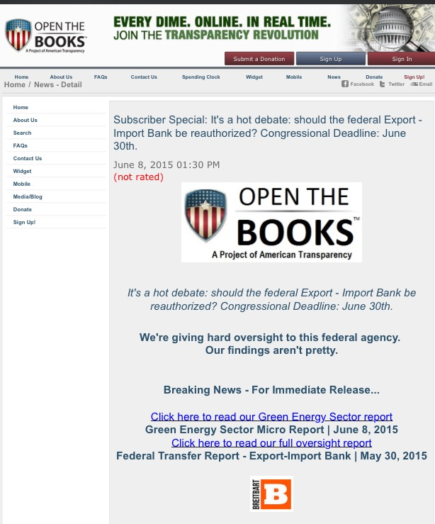 June 8, 2015: The Green Corruption Files research inside Open the Books Report