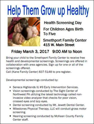3-3 Health Screening Day at Smethport Family Center