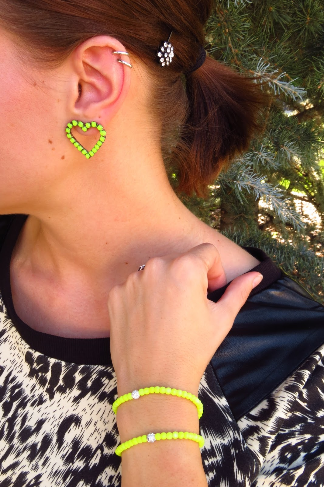 Leopard Top and Neon Accessories