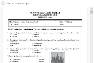 Soal Ujian Akhir Sekolah SD/MI Tahun Pelajaran 2014/2015